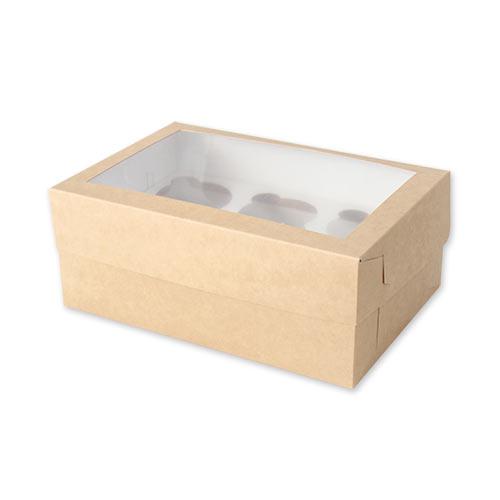 Коробка с окном для 6 капкейков
