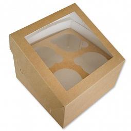 Коробка с окном для 4 капкейков